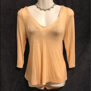 Anthropologie Orange Sherbet Color Deletta Blouse